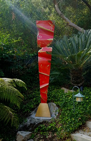 Glorious red bronze Meridian bronze on bronze base in beautiful Hollywood Hills setting. #outdoor #sculpture #bronze