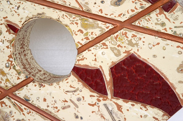"""Clouded"" ruby stained glass and copper lines on a creamy ivory background on a five-sided shape with a painted copper wooden base."