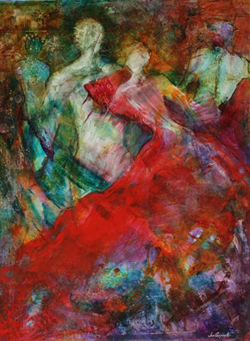 romantic red dress acrylic on paper painting original art
