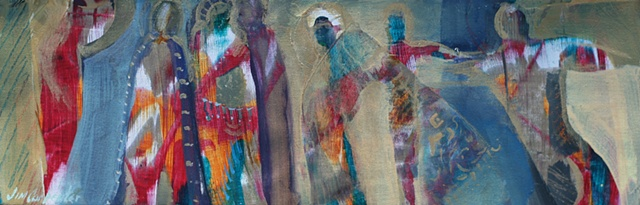 Storyboard IV is an Original acrylic painting of figures of the spirit on canvas by Gainesville FL artist Jim Carpenter