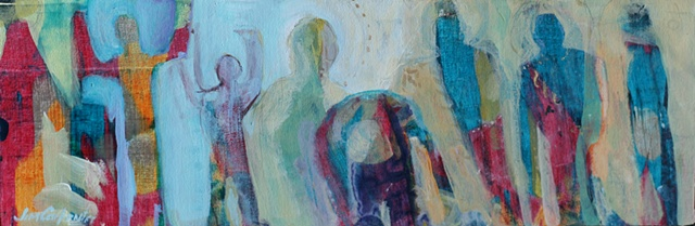 Storyboard VII is an original acrylic painting of figures of the spirit on canvas by Gainesville FL artist Jim Carpenter