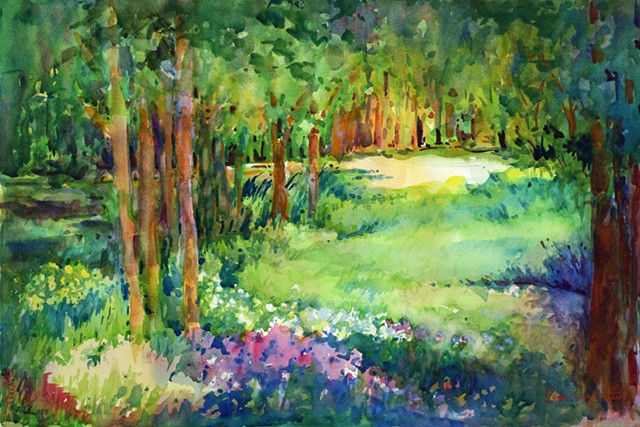 The Clearing, Watercolor on Paper by Jim Carpenter, landscape by Jim Carpenter