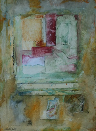 "The painting ""Venetian Plaster"" is a contemporary abstract acrylic painting and collage on paper by Gainesville FL artist Jim Carpenter."