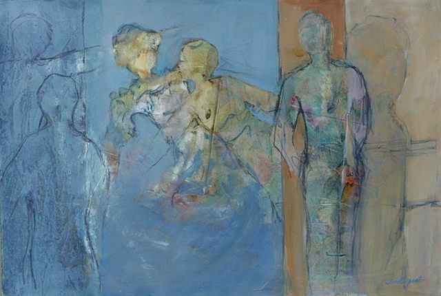 Parages by Jim Carpenter is an original acrylic painting on paper of family figures abstract blue in Gainesville FL