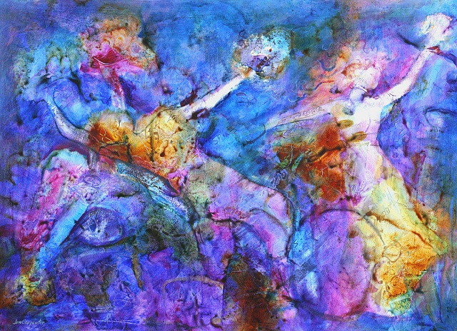 colorful original acrylic painting on paper muses inspiration