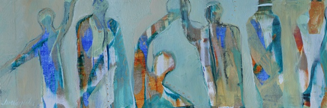 Storyboard V is an Original acrylic painting of figures of the spirit on canvas by Gainesville FL artist Jim Carpenter