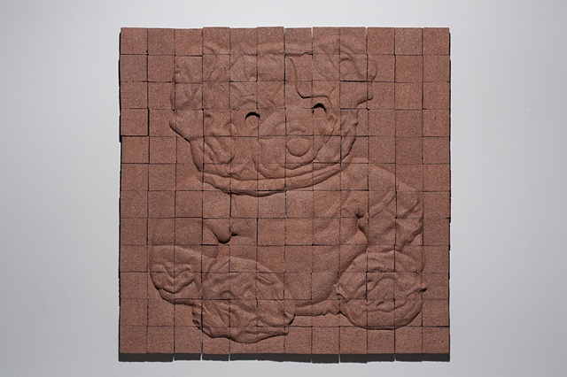 Carved tiles, wall panel