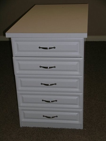 10 drawer white melamine island cabinet with raised panel drawer fronts and laminate countertop