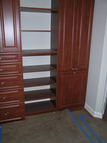 Master bedroom open and closed storage- light cherry melamine