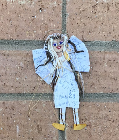 pieces of paper and nature items picked up on a hick at South Mountain and assembled into a folk art angel