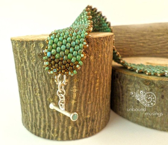 swarovski inlaid toggle, picasso seed beads, tiny size 15 beads, sterling silver, inspired by nature, unbound musings