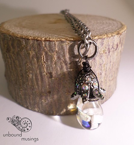 vintage floating opal, antique silver