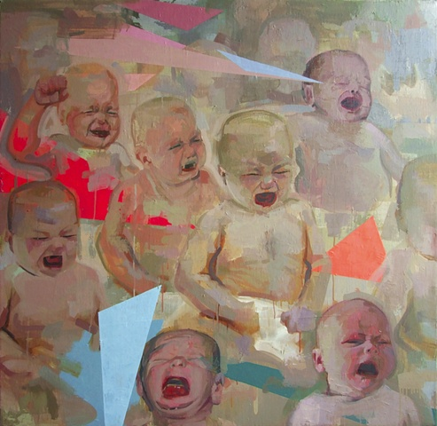 Yikui (Coy) Gu art painting Crybaby oil on canvas