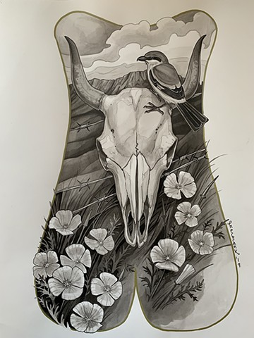 cow skull backpiece with shrike