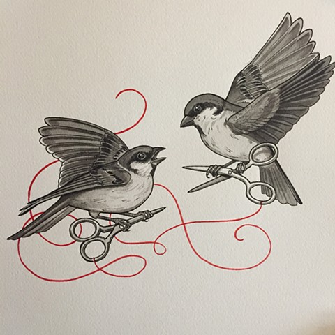 Sparrows and scissors