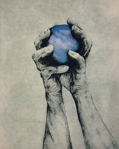 photopolymer etching of hands holding ball