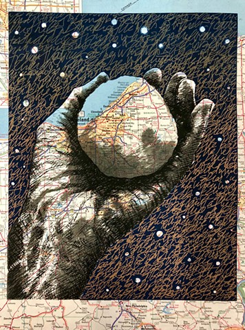 relic, screen print, snowball, hand, map