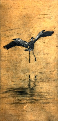 printmaking, heron, birds, etching, intaglio, collage