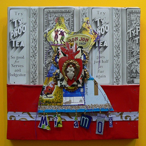 mixed media assemblages, Mexican folk art inspired