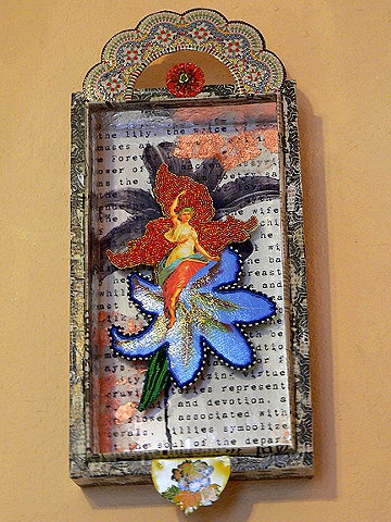 Beaded and mixed media collage