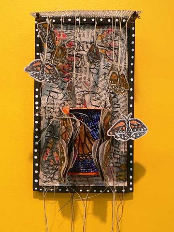 mixed media, monarch myth and migration
