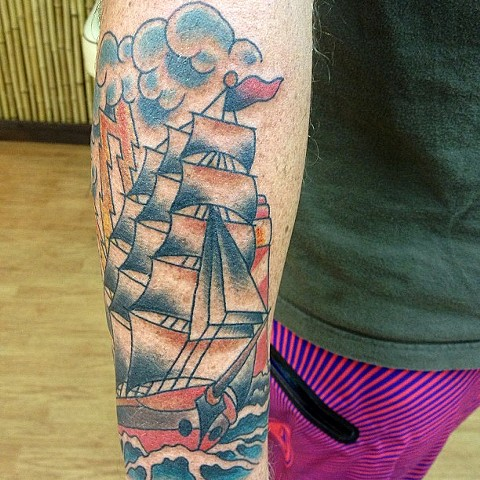 Ship tattoo - Lahaina, Maui