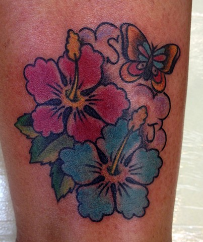Hibiscus Butterfly Tattoo - Lahaina, Maui