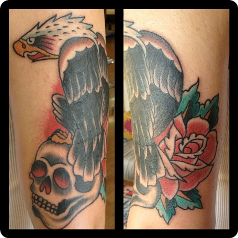 Eagle Skull Rose tattoo - Lahaina, Maui