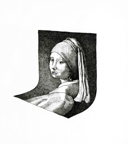 GIRL WITH A PEARL EARRING BENT HORIZONTALLY