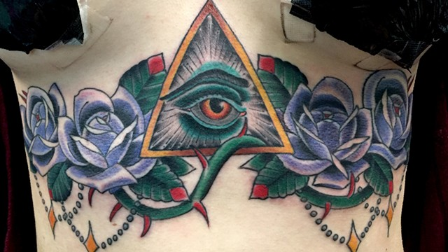 All Seeing Eye and Roses on Sternum