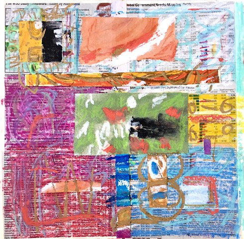 mixed media, collage, contemporary art,wall street journal
