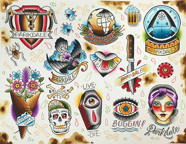 Parkdale Toronto Canada neighbourhood tattoo flash designs featuring pigeon, coffin, skull, globe, knife