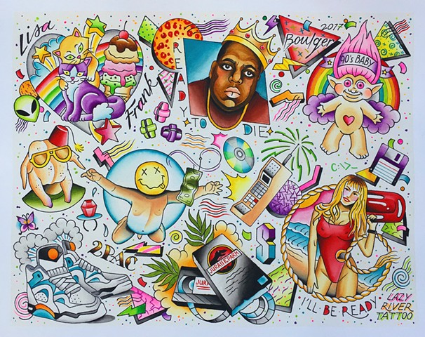 1990s bright bold tattoo flash designs featuring Friends, Biggie Smalls, Lisa Frank, Trolls, Baywatch, Nirvana, Jurassic Park. Painted in Toronto