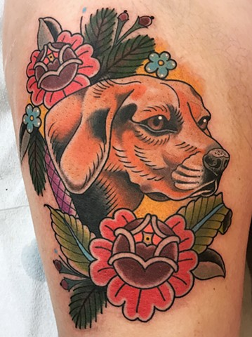 Hound dog pet portrait tattoo made with bright bold colours in a traditional or neotraditional style in Toronto Ontario Canada
