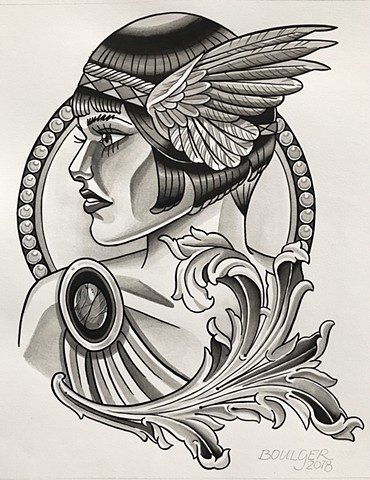 Winged Viking lady head design for tattooing