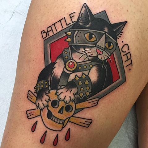 Neotraditional or Traditional Cat portrait tattoo, or cattoo, with heavy metal bold colourful style and a skull. Made in Toronto