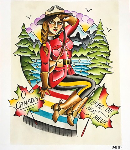RCMP Canadiana watercolour painting of mountains and scenic background in a traditional tattoo style painted in Toronto