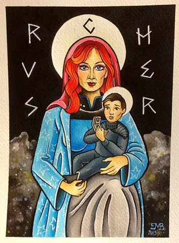 Dr Crusher and Wesley Crusher from Star Trek The Next Generation illustration painting, made in Toronto