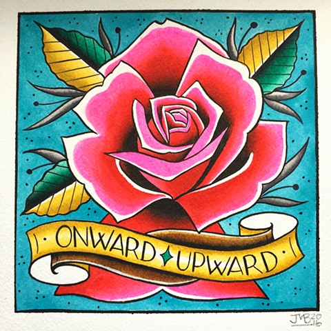 Neotraditional Pink Rose tattoo painting, made in Toronto