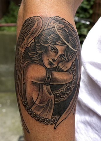 Pretty angel tattoo with pearls in black and grey traditional style, made in Toronto