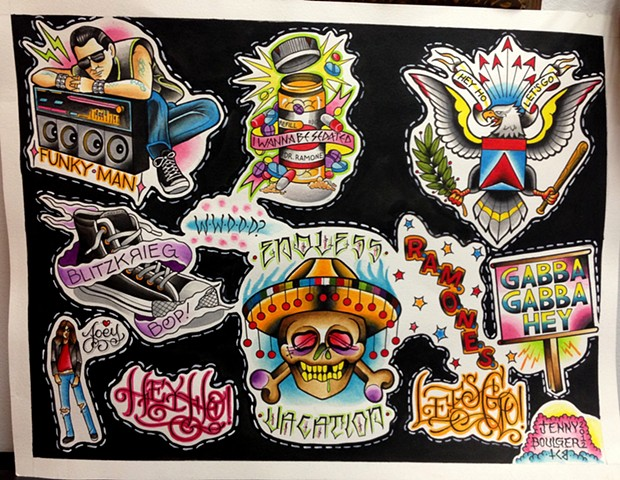 Ramones traditional tattoo flash designs featuring Gabba Gabba Hey, Hey Ho Let's Go, Blitzkrieg Bop. Painted in Toronto