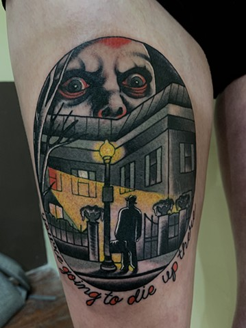 A bold dark traditional tattoo of a scene from The Exorcist horror movie featuring Pazuzu made in Toronto Ontario Canada