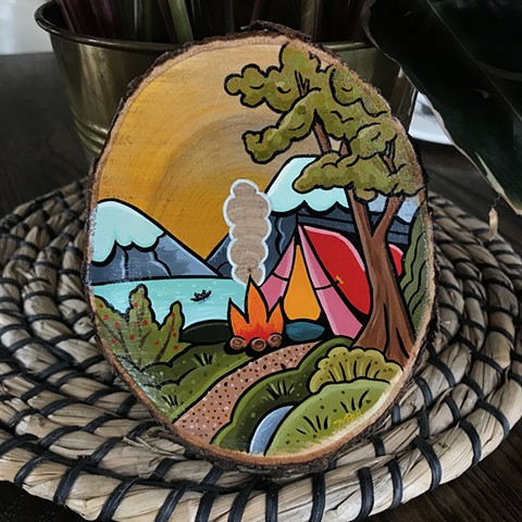 Camp mountain lake scene with tent and fire in nature tattoo style