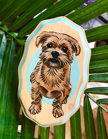 Commission dog portrait painted on wood