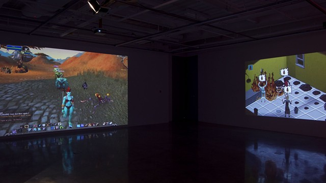 Installation view: Poking The Hive (Angela Washko solo exhibition at George Mason University) - photo by Jeffrey Kenney