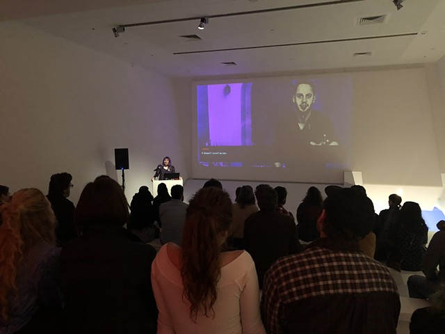 Giving a talk at The Game: The Game opening reception at the Museum of the Moving Image (NYC) - image by Wendell Walker