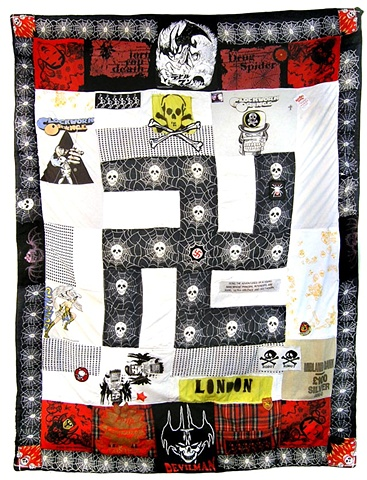 Patchwork quilt, swastika, folk art, punk