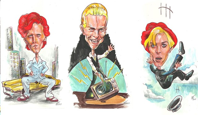 Bowie career caricatures 3