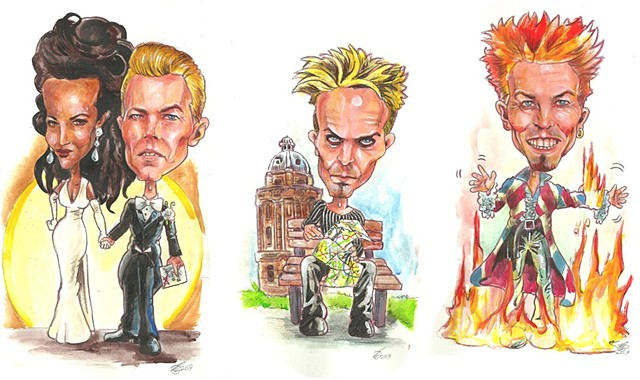 Bowie career caricatures 6