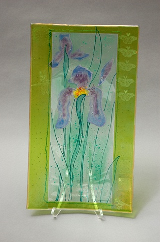 Iris Dance Glass Platter
